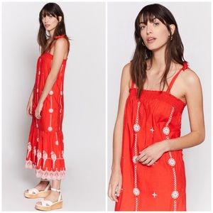 Joie Cleta parrot Embroidered maxi dress